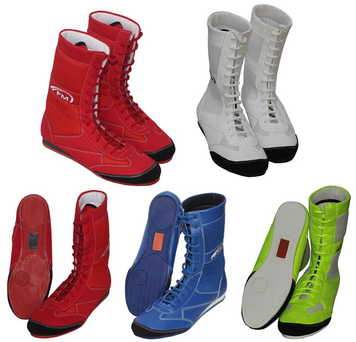 Junior//Youth PM Sports Long Anklet Genuine Leather Boxing//Wrestling Boots Rubber Sole Upper Mash